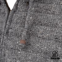 Shakaloha Shakaloha Veste en Laine Tricoté Chuck Ziphood gris avec Doublure en polaire et Capuche détachable - Hommes - Uni - Fabriqué à la main au Népal en laine de mouton