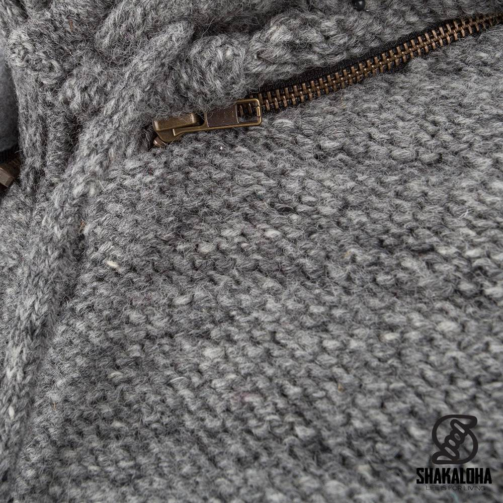 Shakaloha Shakaloha Knitted Woolen Jacket Chuck Ziphood Gray with Fleece Lining and Detachable Hood - Men - Unisex - Handmade in Nepal from sheep's wool
