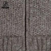Shakaloha Shakaloha Knitted Woolen Jacket Chuck Ziphood Light Brown Taupe with Fleece Lining and Detachable Hood - Men - Unisex - Handmade in Nepal from sheep's wool