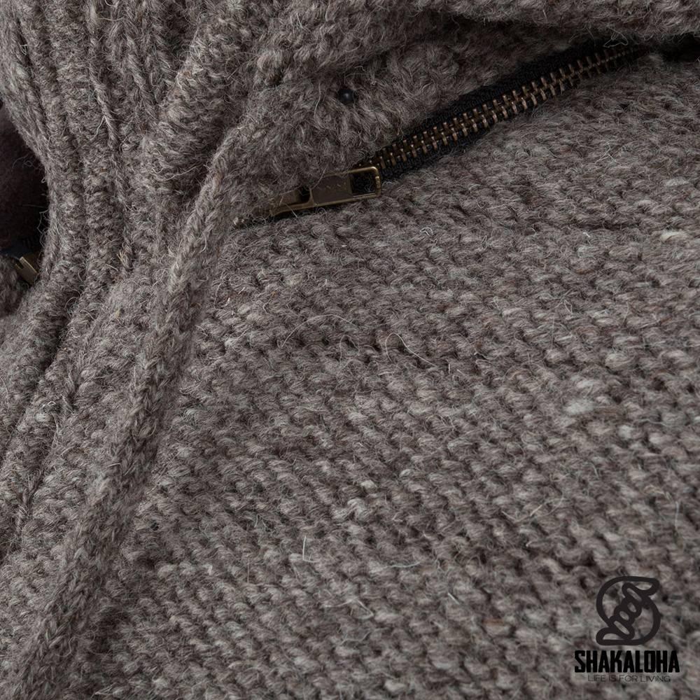 Shakaloha Shakaloha Gebreid Wollen Vest Chuck Ziphood Licht Bruin Taupe met Fleece Voering en Afneembare Capuchon - Man/Uni - Handgemaakt in Nepal van Schapenwol
