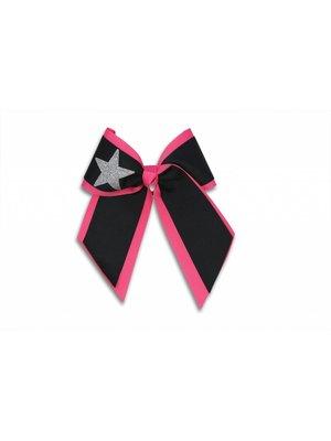 Pizzazz Cheerleader haarstrik zwart/roze