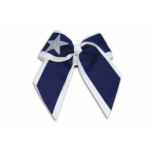 Pizzazz Cheerleader Hairbow wit/donkerblauw