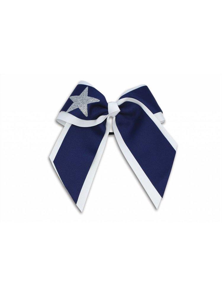 Pizzazz Cheerleader haarstrik wit/donkerblauw