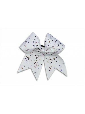 Pizzazz Cheerleader Hairbow wit met strass steentjes