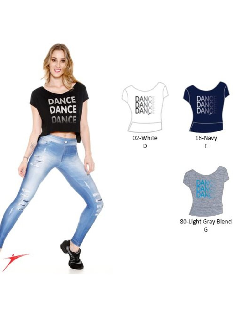 So Danca Dance top donker blauw met zilver kinder
