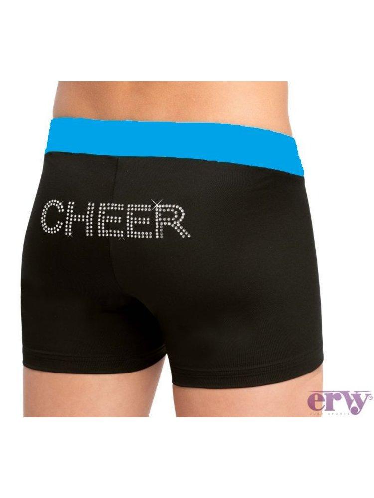 Ervy Cheer short strass zwart/blauw kinder