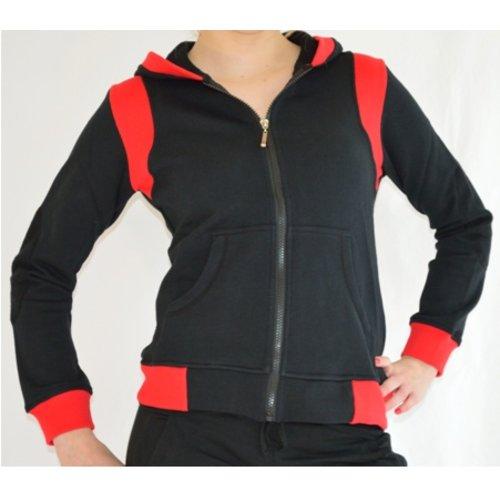 Dansgirl Sportvest kinder zwart met rood
