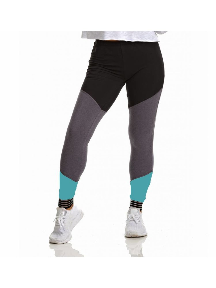 Soffe Dames dans legging zwart/turquoise