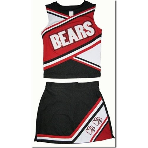 Cheerleader Uniform (rood/zwart/wit)