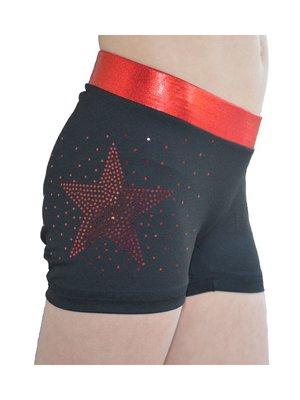 Ervy Dames short glitter ster rood maat M