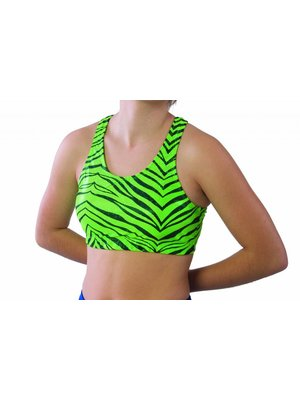 Pizzazz Zebra glitter cheer top lime