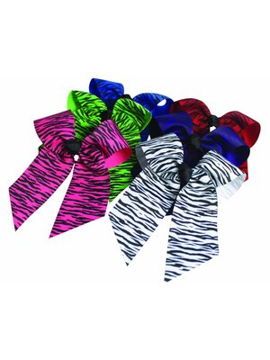 Pizzazz Cheerleader haarstrik zebraprint zwart/lime