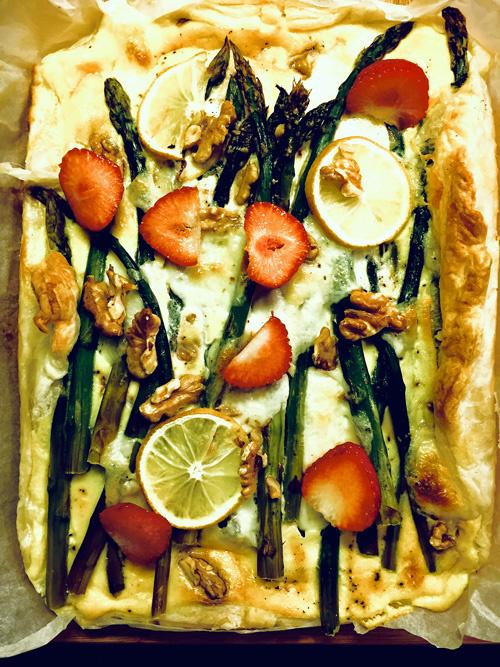Spargel Quiche mit Blätterteig