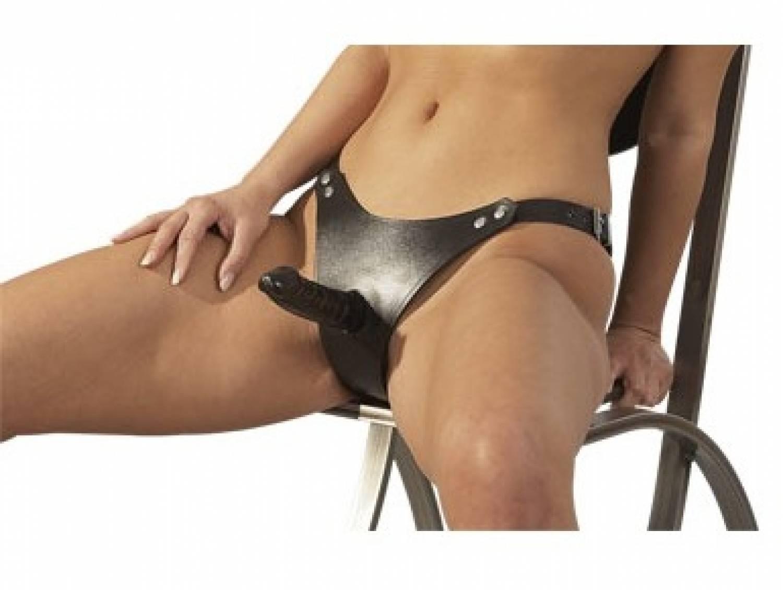 Stevige Leder Slip met latex Dildo