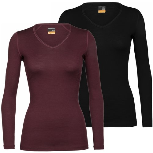 Icebreaker Merino Bodyfit 200 dames thermoshirt met V-hals