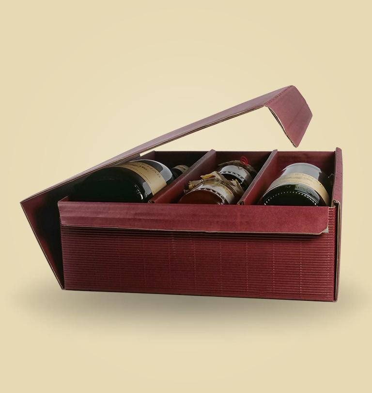 Geschenkverpackung für 3 Flaschen oder Gelee´s oder Essig und Oel