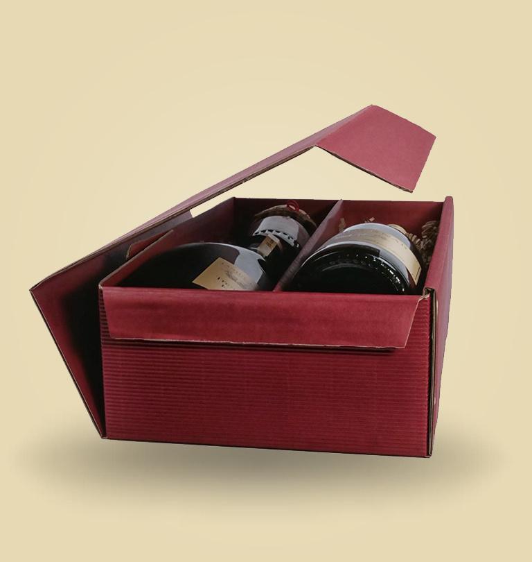 Geschenkverpackung für 2 Flaschen oder Gelee´s oder Essig und Oel