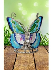 Sweet Lake Compagny Tiffany Tealightholder Butterfly blauw
