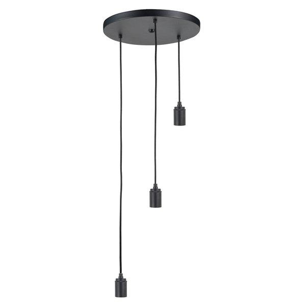 HighLight lampen  Losse ronde plaat zwart met 3  pendels