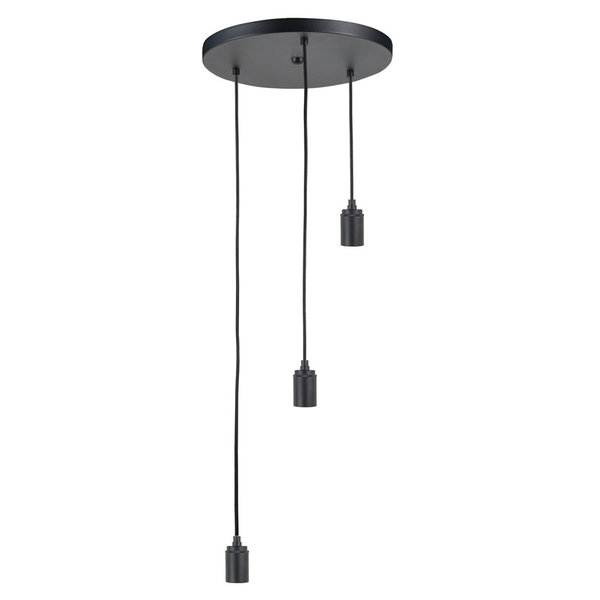HighLight lampen  Separate round plate black with 3 pendles