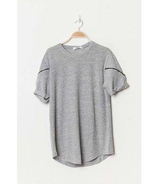 T-shirt met ritsen grijs