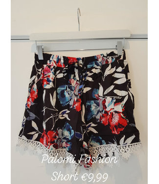 Short bloemen zwart
