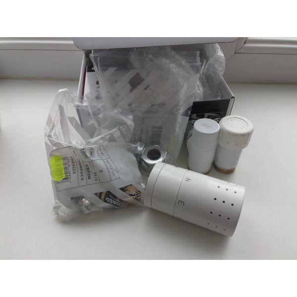 IN007W - Thermostatic corner radiator valve set - white