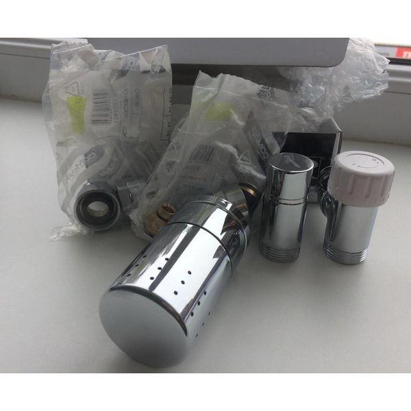 IN008CH - Thermostatisches Design-Set Eck für Warmwasserbetrieb Chrom