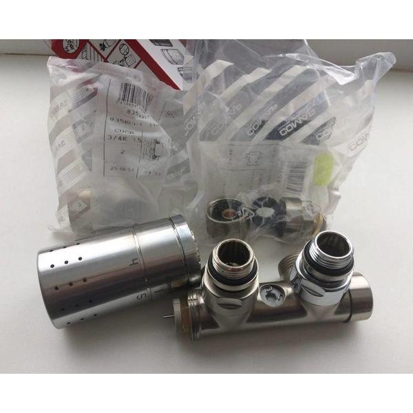 IN012IXL - Mittenanschluss-Set mit Thermostatkopf Edelstahl (links)