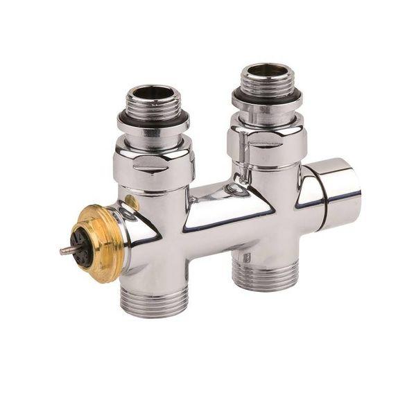 IN014ACH - Mittelanschluss-Ventilarmatur mit Thermostatkopf Chrom (Durchgang)