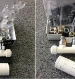 HOTHOT T020WL / T020WR - Mittenanschluss-Set mit Thermostatkopf Weiß (links oder rechts)