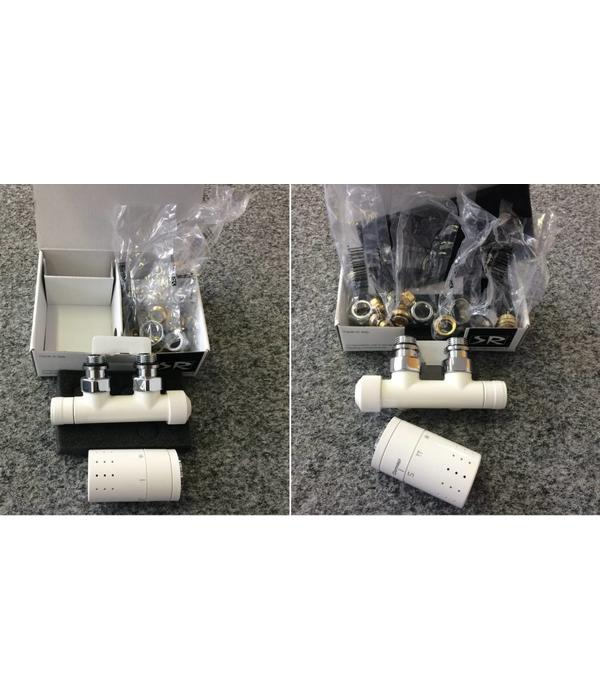 HOTHOT T020WL / T020WR - H-piece thermostatic angled radiator valve set - white (left/right)