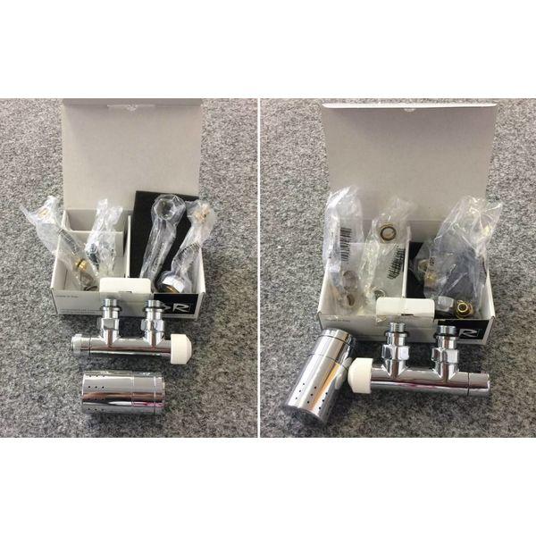 T021CHL / T021CHR - Mittenanschluss-Set mit Thermostatkopf Chrom (links/rechts)