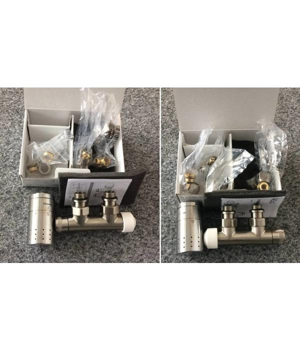 HOTHOT T022IXL / T022 IXR - H-piece thermostatic angled radiator valve set - stainless steel (left/right)