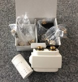 HOTHOT T023WSD - H-piece thermostatic angled/straight radiator valve set - white cover (universal)