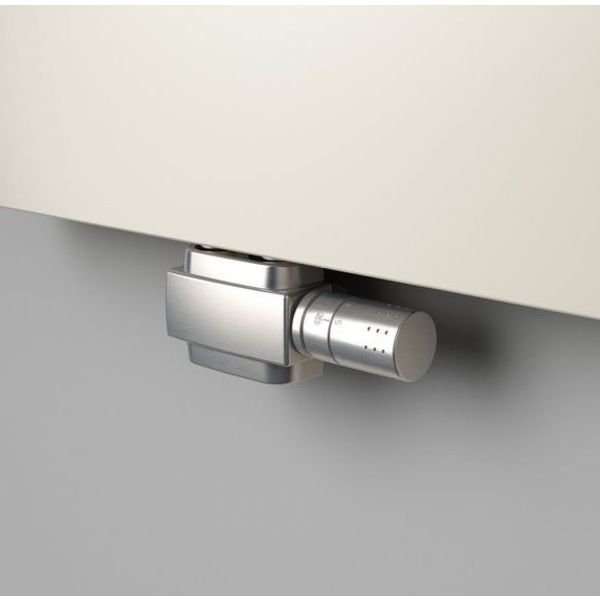 T025IXSD - H-piece thermostatic angled/straight radiator valve set - stainless steel cover (universal)