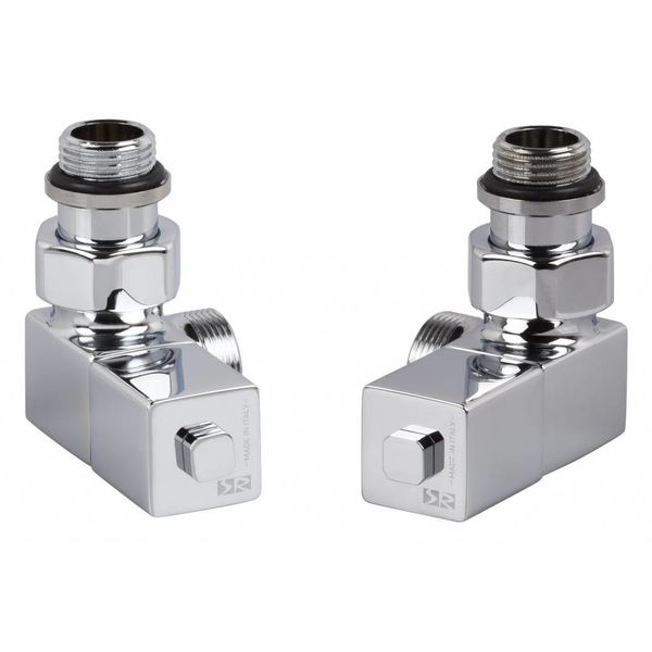 T026CH - Manual angled radiator Esedra valve set - chrome
