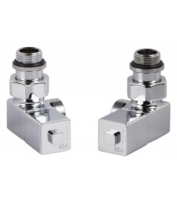HOTHOT T026CH - Manual angled radiator Esedra valve set - chrome