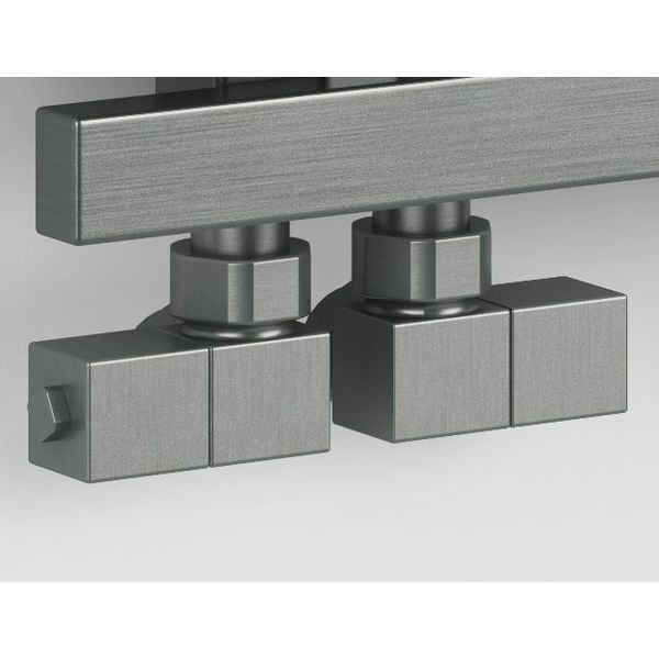 T027IX - Manual angled radiator Esedra valve set - stainless steel