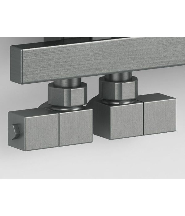 HOTHOT T027IX - Manual angled radiator Esedra valve set - stainless steel