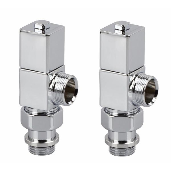 T028CH - Manual corner radiator Esedra valve set - chrome (straight)