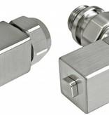 HOTHOT T031IX - Manual corner radiator Esedra valve set - stainless steel