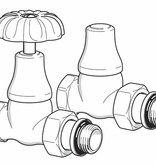 HOTHOT T048CH - Manual straight radiator Old Style valve set - chrome
