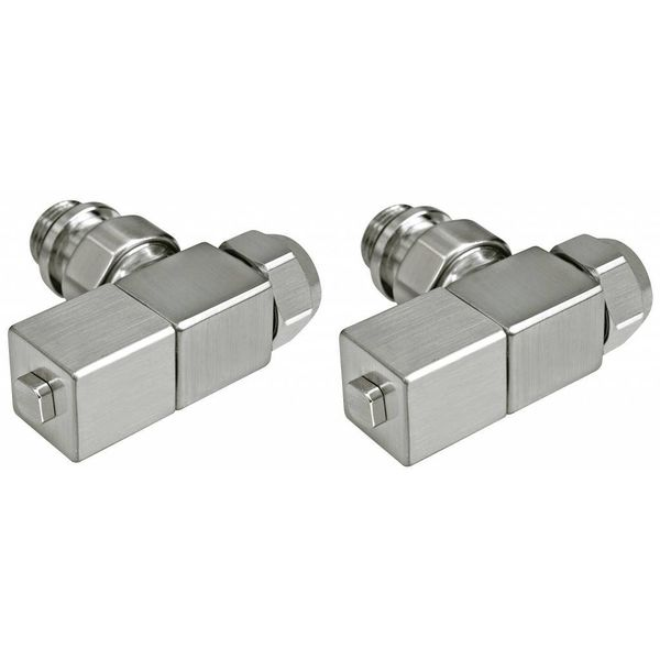 T029IX - Manual corner radiator Esedra valve set - stainless steel (straight)
