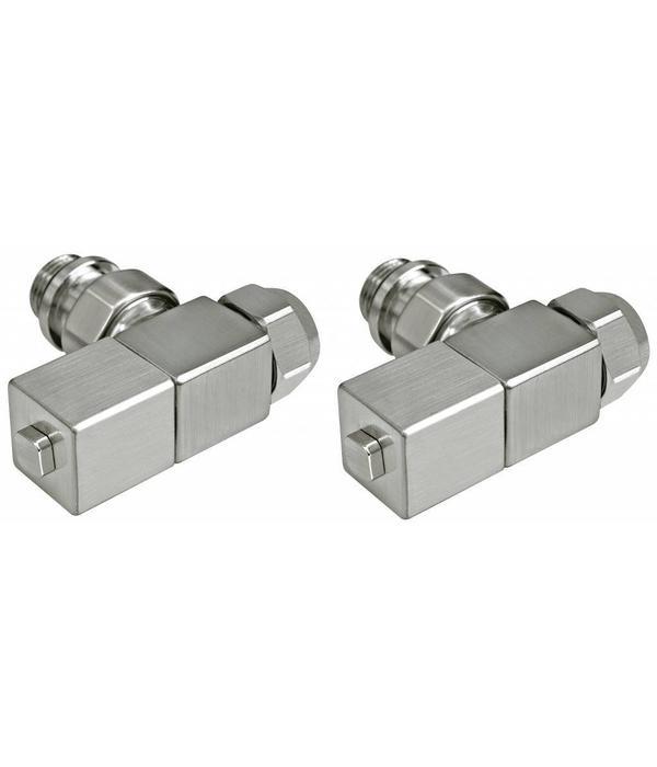HOTHOT T029IX - Manual corner radiator Esedra valve set - stainless steel (straight)