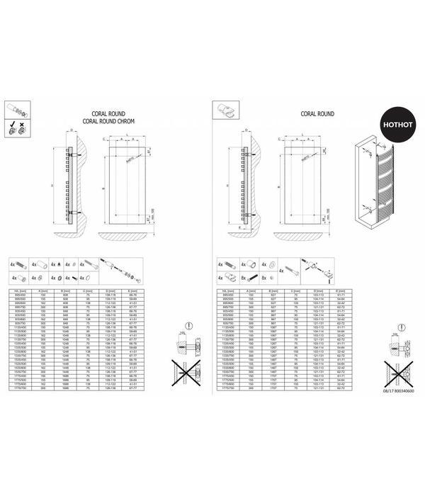 HOTHOT CORAL ROUND CHROME - Dual Fuel Chrome Towel Rail