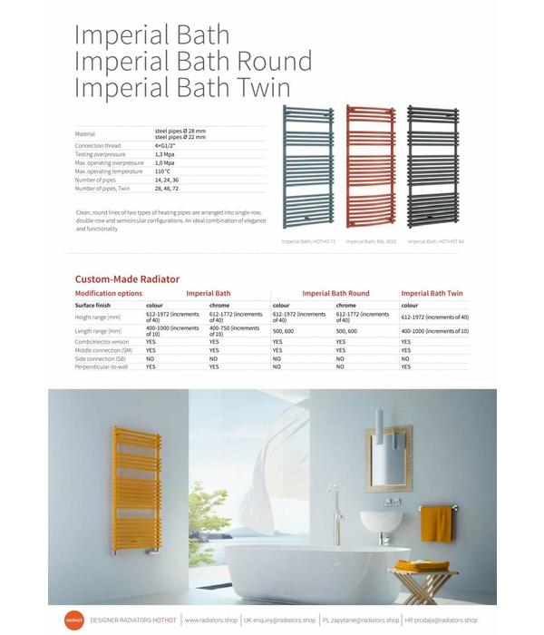 HOTHOT IMPERIAL BATH  CHROME - Central heating Towel Radiator