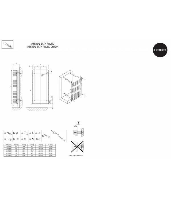 HOTHOT IMPERIAL BATH ROUND - Elektrischer Heizkörper mit Heizstab