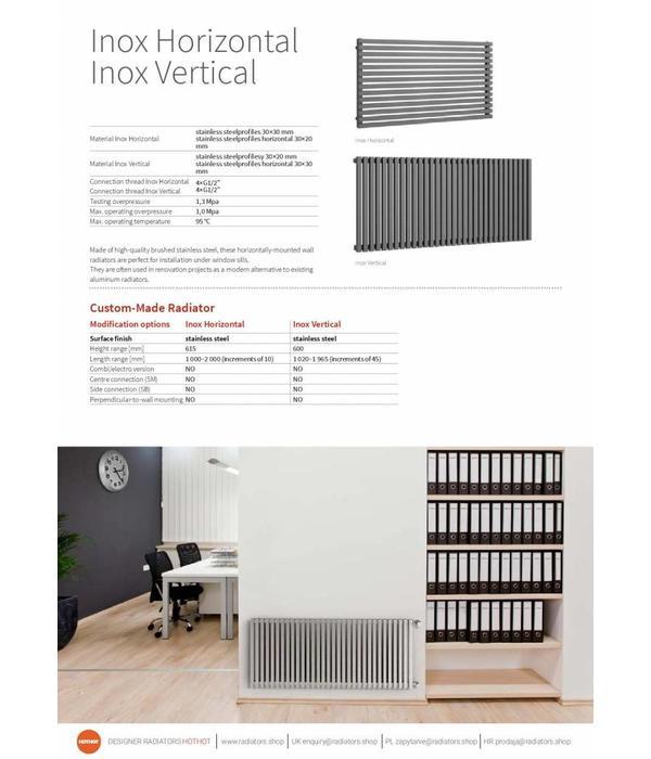 HOTHOT INOX HORIZONTAL - Radiateur à eau chaude en inox