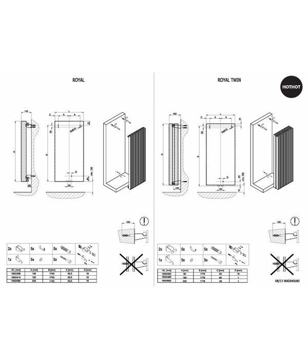 HOTHOT ROYAL TWIN - Vertikaler Heizkörper mit Mittelanschluss